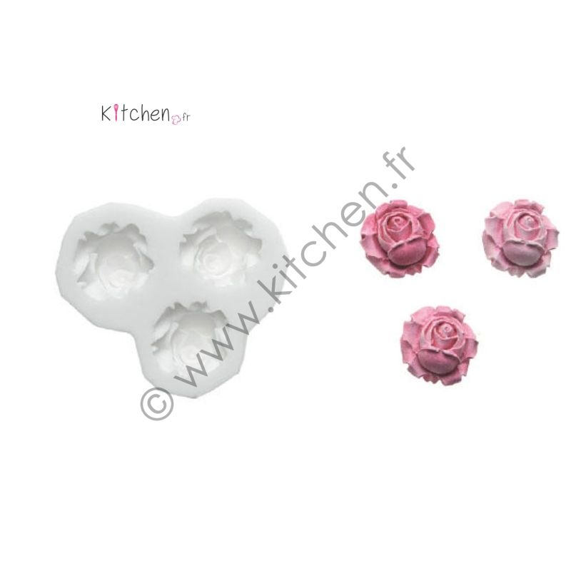 Moule silicone 3 roses ht 23 mm