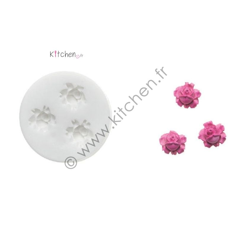 Moule silicone 3 roses ht 15 mm