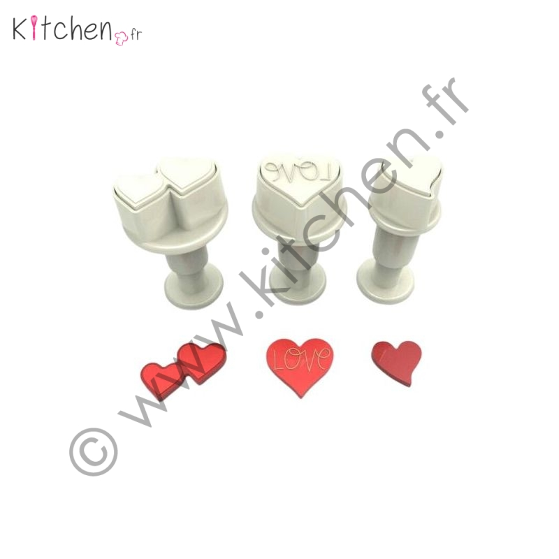 3 cœurs décoratifs de tailles différentes