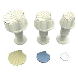 3 coquillages décoratifs de tailles différentes
