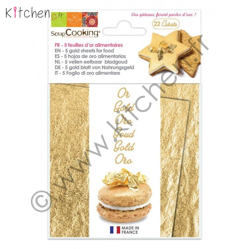 5 feuilles alimentaires Or 22 carats