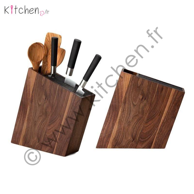 Bloc couteaux et rangement incliné bois de noyer