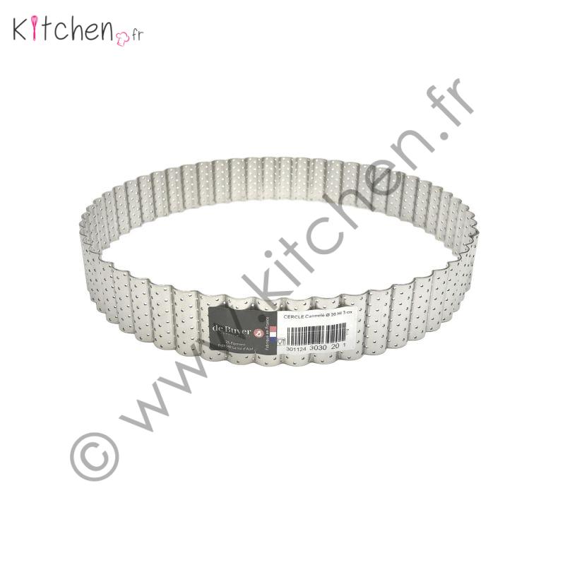 Cercle à tarte perforé rond bord droit - 20 cm de diamètre