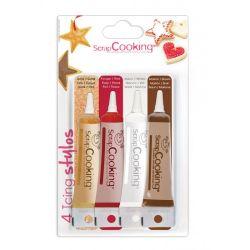 4 stylos de glaçage de couleur or, marron, blanc, rouge