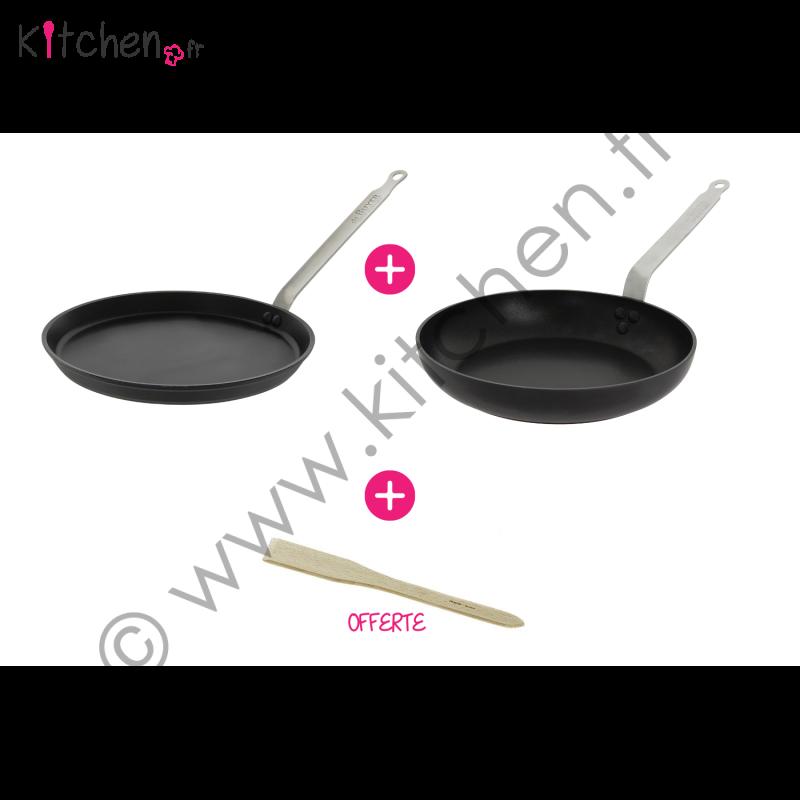 Coffret 2 poêles antiadhésives + spatule bois offerte