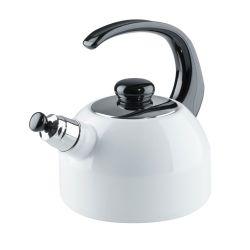 Bouilloire sifflante blanche brillante en acier émaillé 2 litres