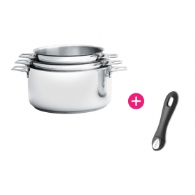 Set 3 Casseroles inox Twisty et Manche clipsable