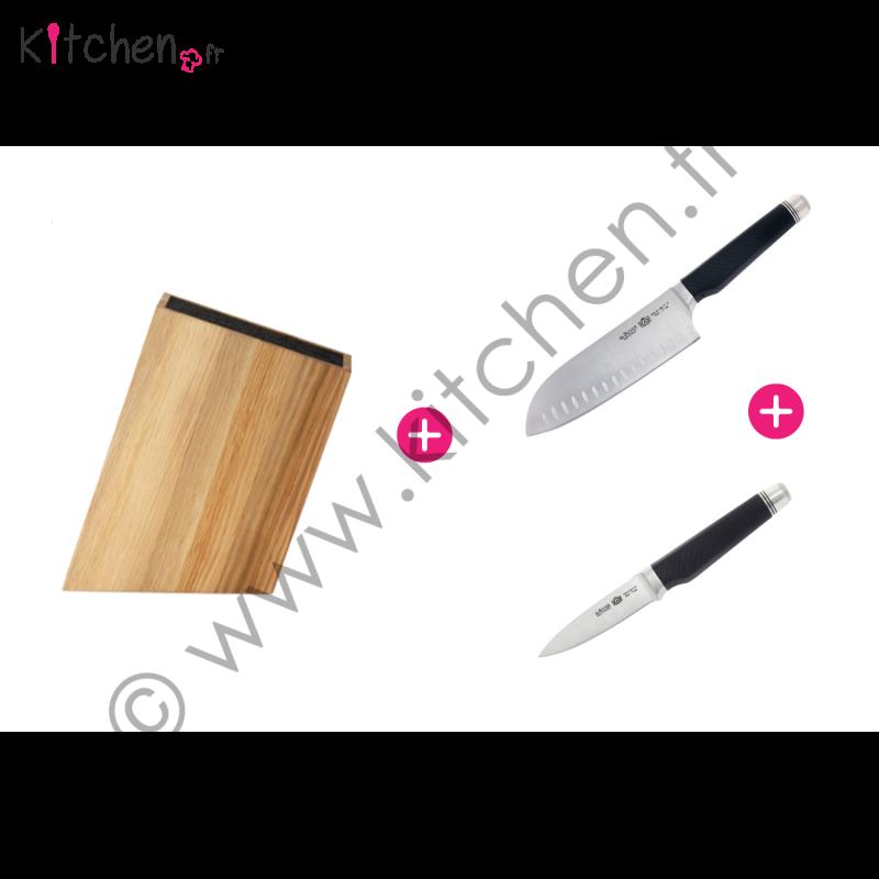 Ensemble de deux couteaux et leur bloc de rangement