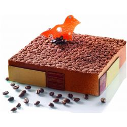 Tapis relief gâteau motif grains café
