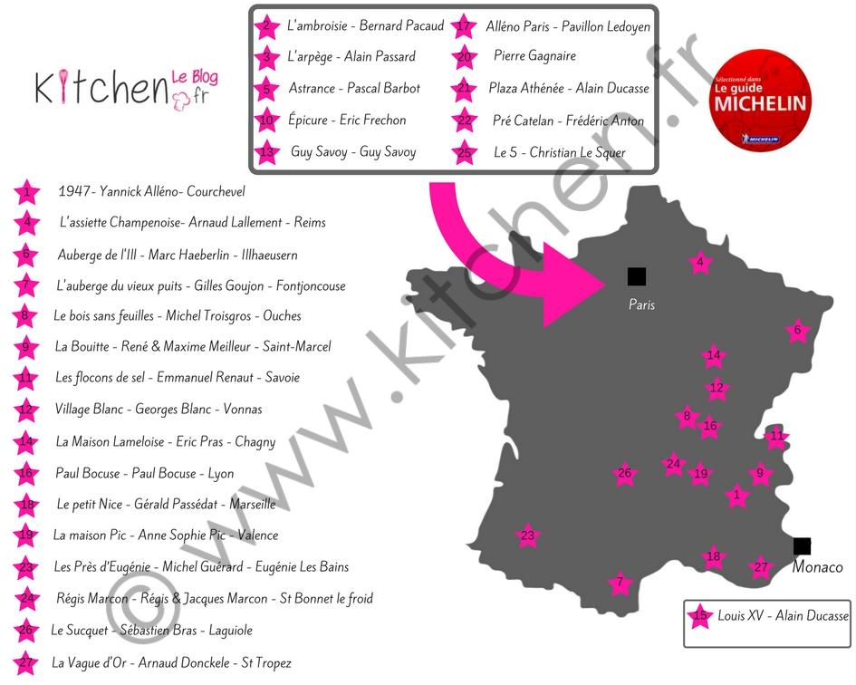 carte de france 3 etoiles michelin